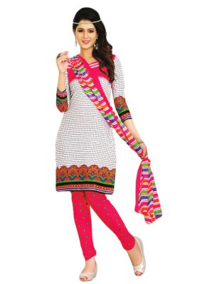 8f3ad0ab15 Buy Salwar Studio Cotton White-pink Checkered-leheriya Printed Unstitched Dress  Material-(