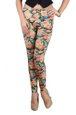 Buy Multi Polyester, Spandex Luscious Floral Print Legging. (free Size Fit - Xs-m) (code - Ng79262) online