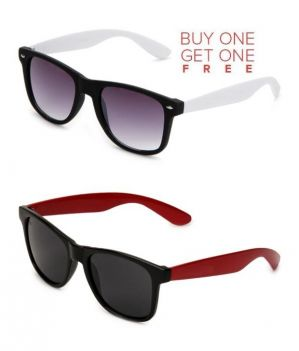Buy Buy 1 Red Wayfarer Sunglasses And Get 1 White Wayfarer Sunglasses Free online