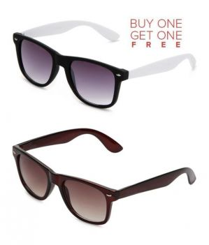 Buy Buy 1 Brown Wayfarer Sunglasses And Get 1 White Wayfarer Sunglasses Free online