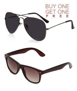Buy Buy 1 Black Aviator Sunglasses And Get 1 Brown Wayfarer Sunglasses Free online