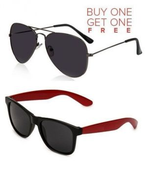 Buy Buy 1 Black Aviator Sunglasses And Get 1 Red Wayfarer Sunglasses Free online