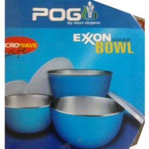 Buy Exon Steel Storage Bowl 3 PCs Set (microwave Safe) online