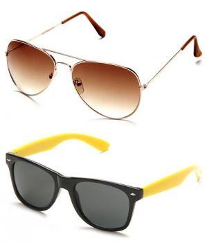 Buy Indmart Brown Aviator And Yellow Wayfarer Sunglasses online