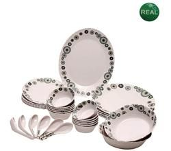 Buy Imported Round 32 PCs Dinner Set With Ethnic Circle Print online