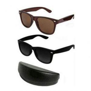 Buy Indmart Wayfarer Style Sunglasses - Black & Brown Buy 1 Get 1 online