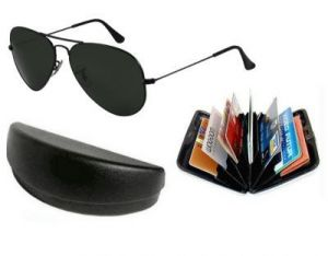 Buy Trendy Black Classic Aviator Style Sunglasses With Aluminium Wallet online