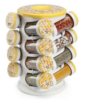 Buy Kt Jvs Harvest Yellow Majestic Revolving Spice Rack(masala Rack) -spice Tower 16 In 1 online