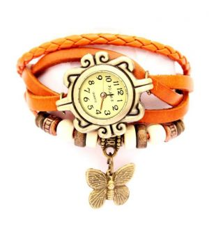 Buy Mf Crystal Collections Orange Vintage Leather Watch online