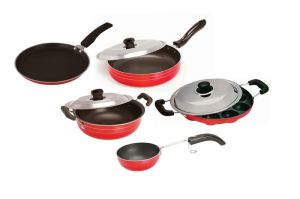 Buy Non Stick Cookware Set Of 5- Dosa Tawa, Kadhai With Lid, Fry Pan With Lid, Appam, Vagharia/chokan Pan online