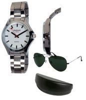 Buy Stylish Mens Wrist Watch With Classic Aviator Sunglasses online