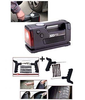 Buy Coido 3326- 12 V 12v 300psi Electic Car Auto Tyre Inflator Air Compressor With Gauge Meter emergency Tyre Tire Puncher Repair Kit online