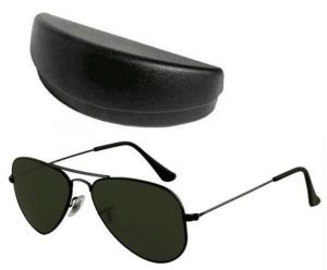 Buy Gun Metal Frame Stylish Black Aviators Mens Sunglasses With Hard Case online