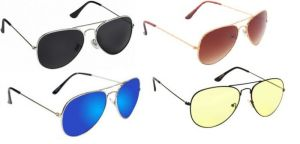Buy Sunglass Combo - Brown 2 Shade ,black S ,blue Mercury ,yellow 2 Shade online