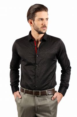 Buy Solemio Black Polyester Cotton Shirt For Men - (product Code - A15sh8050ebl) online