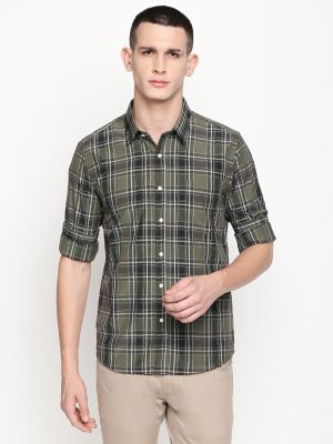 Buy Solemio Olive Poly Cotton Checks Shirt For Mens online