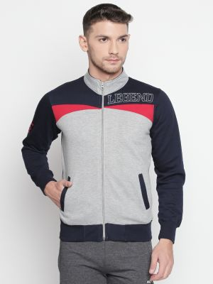 Buy Fitz Grey Mock Collar Zipper Sweatshirt For Mens online