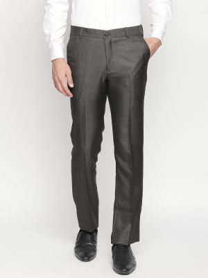 Buy Solemio Charcoal Formal Trouser For Mens online