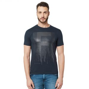 Buy Fitz Navy Blue Round Neck T-Shirt For Mens online