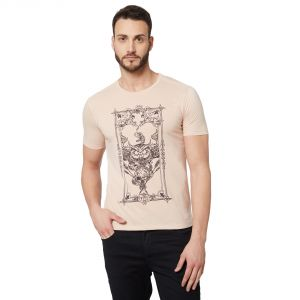 Buy Fitz Peach Round Neck T-Shirt For Mens online