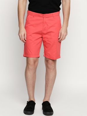 Buy Fitz Coral Red Cotton Shorts For Mens online