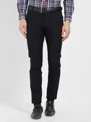 Buy Solemio Cotton Lycra Black Chinos For Mens online