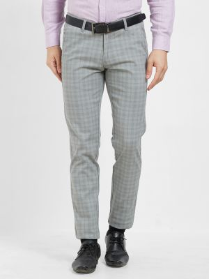 Buy Solemio Grey Cotton Lycra Checks Chinos For Mens online