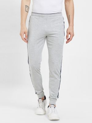 Buy Fitz Poly Cotton Slim Fit Grey Joggers For Mens online