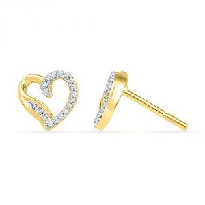 Buy Jpearls 18 Kt Gold Candy Heart Diamond Earrings online
