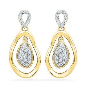 Buy Jpearls 18 Kt Gold Valentines Day Special Zimaa Diamond Earrings online