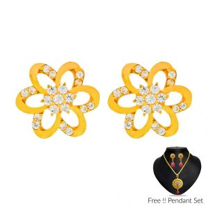 Buy Sri Jagdamba Pearls 22Kt (916) Treasure Gold Earrings online