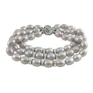 Buy Jpearls Three String Grey Pearl Braclet online