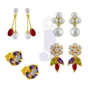 Buy Jpearls Set Of Four Pair Earrings online