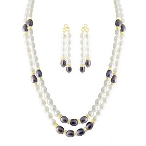 Buy Jpearls Fancying 2 Line Pearl Set - Jdec-0409 online