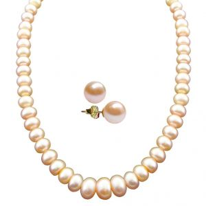 Buy Jpearls Beautiful Single Line Peach Pearl Necklace online