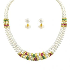 Buy Mother''s Day - Jagdamba Cz Ruby Pearl Necklace online
