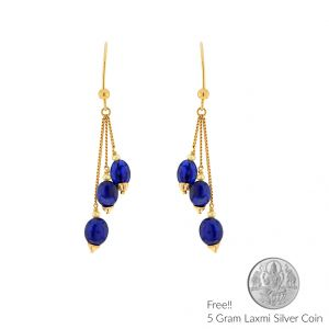Buy Sri Jagdamba Pearls  22Kt Blue Sapphire Gold Hangings online