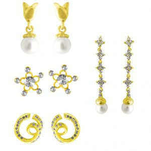 Buy Jpearls Combo Of 4 Earrings online