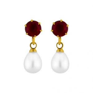 Buy Jpearls Maroonstone Pearl Earrings online