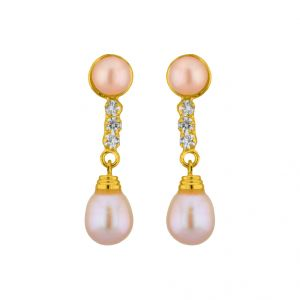 Buy Jpearls Pink Hangings Pearl Earrings online
