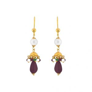Buy Jpearls Go-maroon Gold Earrings online