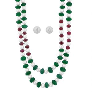 Buy Jpearls Ruby Emerald Pearl Necklace online