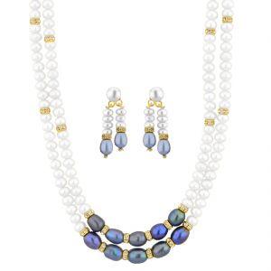 Buy Jpearls 2 Line White Grey Pearl Set online