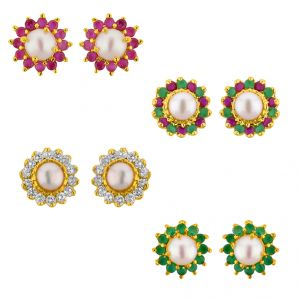 Buy Jpearls Set Of 4 Flower Pair Earrings online