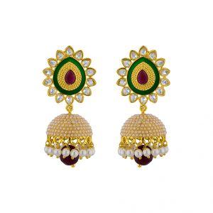 Buy Jpearls Ethnic Kundan Pearl Jhumkis online