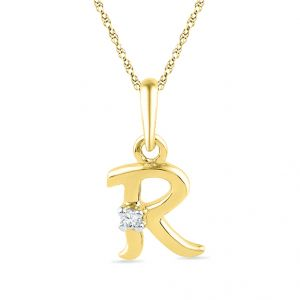 Buy Jpearls 18kt Gold Alphabet R Diamond Pendent online