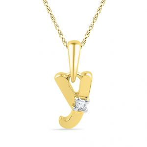Buy Jpearls 18kt Gold Alphabet Y Diamond Pendent online