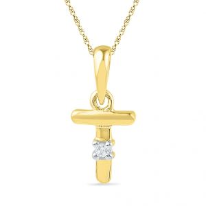 Buy Jpearls 18kt Gold Alphabet T Diamond Pendent online
