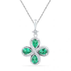 Buy Four Emerald Diamond Pendant Code-pf101030-lem-ss online