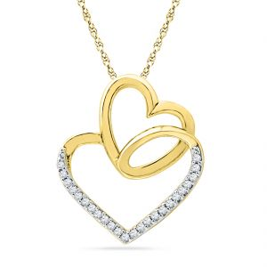 Buy Jpearls 18 Kt Gold Valentines Day Special Heart In Heart Diamond Pendant online